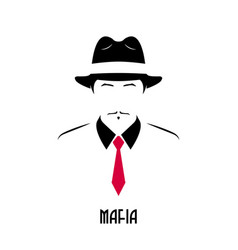 Gangster with mustache wearing a 1930s hat vector