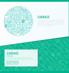 garbage concept in circle with thin line icons vector image