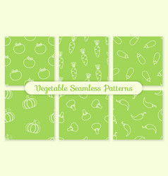 green silhouette seamless vegetable pattern set vector image