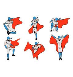 Hand drawn hero models in various poses vector