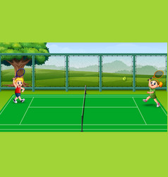 happy kids playing tennis at the courts vector image