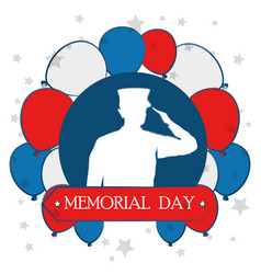 Happy memorial day celebration card with soldier vector