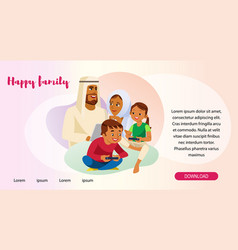 Happy muslim family web page template vector