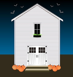 House with pumpkins and bats Night Halloween vector