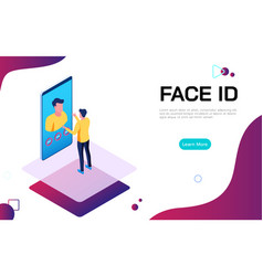 isometric face identification digital security vector image