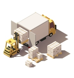 Isometric forklift loading box truck with vector