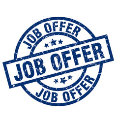 Job offer blue round grunge stamp vector