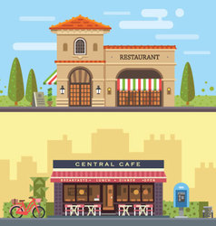 Landscape with restaurant and cafe vector