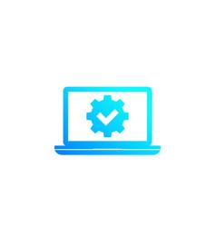 Laptop and gear cogwheel icon vector
