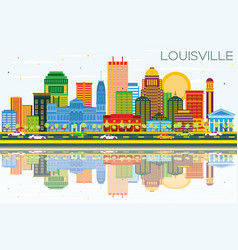 Louisville kentucky usa city skyline with color vector
