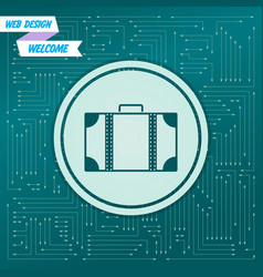 luggage icon on a green background with arrows in vector image