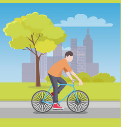 man rides bicycle along road with city on horizon vector image