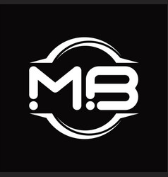 Mb logo monogram with circle rounded slice shape vector