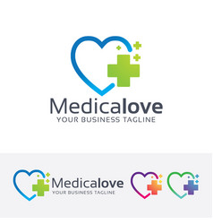 medical love logo design vector image