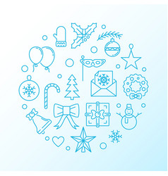 merry christmas blue round thin line vector image