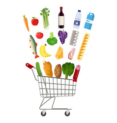 metal shopping cart full of groceries products vector image vector image