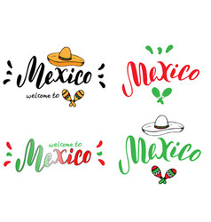 mexico typography set design template tourism vector image