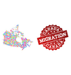 Migration composition mosaic map canada and vector