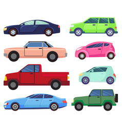 modern and old cars set automobiles vehicles vector image