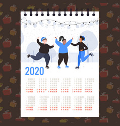 Moon 2020 calendar people skating on ice rink vector