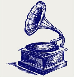 Old record player vector image