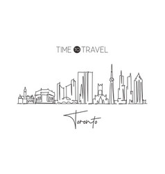 one single line drawing toronto city skyline vector image