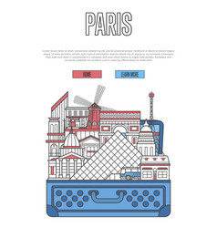 paris city poster with open suitcase vector image