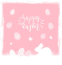 Pink easter background with eggs and rabbit vector
