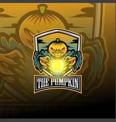 pumpkin esport mascot logo vector image