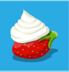 ripe strawberry and whipping cream vector image
