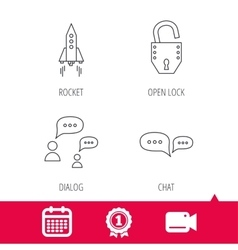 Rocket chat speech bubble and open lock icons vector
