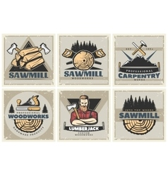 Sawmill Small Posters Set vector
