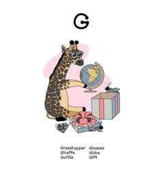 Scandi english alphabet amusing animals vector