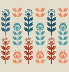 scandinavian folk style flowers seamless pattern vector image
