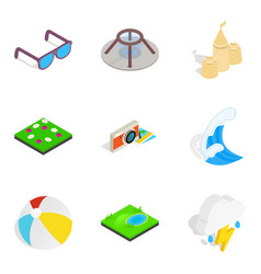 Sea pastime icons set isometric style vector
