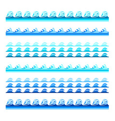 seamless blue water wave bands set for footers vector image