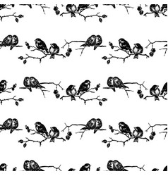 Seamless pattern sketches birds sitting on vector