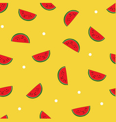 Seamless repeat pattern with watermelon slices vector