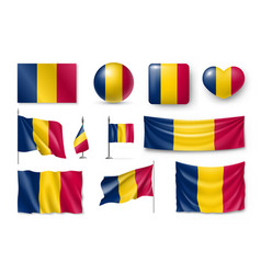 set chad flags banners symbols flat icon vector image
