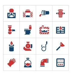 Set color icons of sewerage vector image