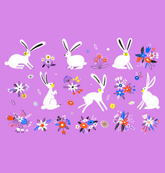 set cute rabbits in cartoon style vector image