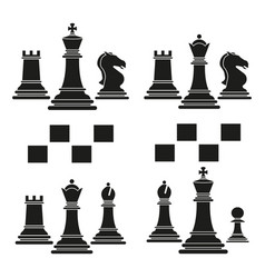 set of chess club play icon black vector image