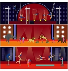 set of circus interior concept banners vector image