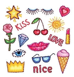 Set of modern elements patches rose lips star vector