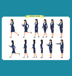 Set of walking and running business woman vector