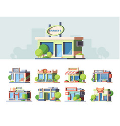 shops fronts colorful flat vector image