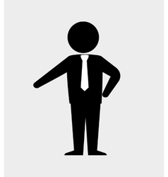 silhouette standing with tie isolated vector image