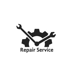 simple repair service logo like clock vector image