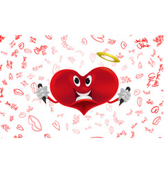 smiling red heart with pens in their hands vector image