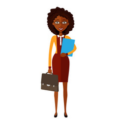Spectacled african american business woman banker vector